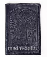 Обложка паспорт, тиснение Ангел Хранитель, крыло пластик (арт.МО41А) синяя