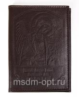 Обложка для авто документов, тиснение Ангел Хранитель, крыло ткань (арт.МВ51А) бордо
