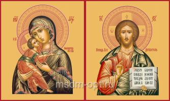 Венчальная пара икон Господь Вседержитель (арт.00104) и Божия Матерь Владимирская (арт.00204)