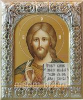 Господь Вседержитель, икона  в серебряной рамке, золочение,  88 х 104 мм (арт.00110-15)
