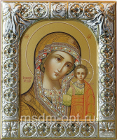 Казанская икона Божией Матери, икона  в серебряной рамке, золочение, 88 х 104 мм (арт.00210-15)