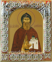 Даниил Московский благоверный князь, икона  в серебряной рамке, золочение, красная эмаль, 88 х 104 мм (арт.00412-15)