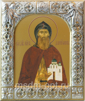 Даниил Московский благоверный князь, икона  в серебряной рамке, золочение, 88 х 104 мм (арт.00412-15)