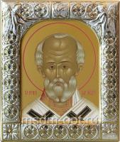 .Николай чудотворец, архиепископ Мир Ликийских, святитель, икона  в серебряной рамке, золочение,  88 х 104 мм (арт.00702-15)