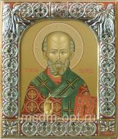 .Николай чудотворец, архиепископ Мир Ликийских, святитель, икона  в серебряной рамке, золочение, красная эмаль, 88 х 104 мм (арт.00728-15)