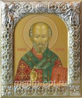 .Николай чудотворец, архиепископ Мир Ликийских, святитель, икона  в серебряной рамке, золочение,  88 х 104 мм (арт.00728-15)