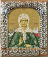 Матрона Московская блаженная, икона  в серебряной рамке, золочение, красная эмаль, 88 х 104 мм (арт.00873-15)