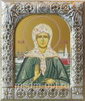 Матрона Московская блаженная, икона  в серебряной рамке, золочение, 88 х 104 мм (арт.00873-15)