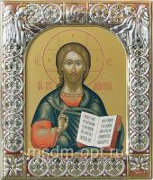 Господь Вседержитель, икона  в серебряной рамке, золочение, красная эмаль, 88 х 104 мм (арт.06105-15)