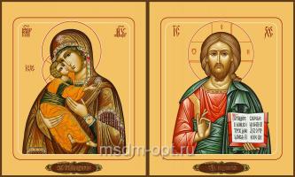Венчальная пара икон Господь Вседержитель (арт.04106) и Божия Матерь Владимирская (арт.04206)