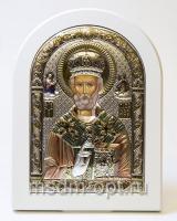 Николай чудотворец, архиепископ Мир Ликийских, святитель, серебряная икона, цветная
