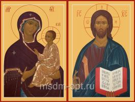 Венчальная пара икон Господь Вседержитель (арт.06112) и Божия Матерь Тихвинская икона (арт.00394)