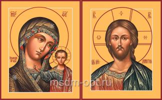 Венчальная пара икон Господь Вседержитель (арт.06136) и Божия Матерь Казанская (арт.06275)