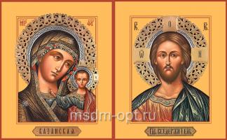 Венчальная пара икон Господь Вседержитель (арт.06137) и Божия Матерь Казанская (арт.06276)