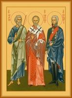Андрей апостол, Николай святитель, Феодор Ушаков праведный, икона (арт.06624)