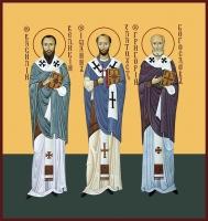 Василий Великий, Иоанн Златоуст, Григорий Богослов, святители, икона (арт.06707)