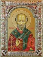 .Николай чудотворец, архиепископ Мир Ликийских, святитель, икона в серебряной рамке, золочение, красная эмаль, 180 х 240 мм (арт.00728-85)