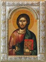 Господь Вседержитель, икона в серебряной рамке, золочение, 180 х 240 мм (арт.01047-85)