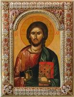 Господь Вседержитель, икона в серебряной рамке, золочение, красная эмаль, 180 х 240 мм (арт.01047-85)
