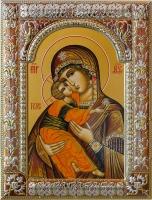Владимирская икона Божией Матери, икона в серебряной рамке, золочение, красная эмаль, 180 х 240 мм (арт.04206-85)