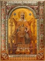 Державная икона Божией Матери, икона в серебряной рамке, золочение, красная эмаль, 180 х 240 мм (арт.04229-85)