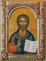 Господь Вседержитель, икона в серебряной рамке, золочение, красная эмаль, 180 х 240 мм (арт.06105-85)