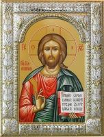 Господь Вседержитель, икона в серебряной рамке, золочение, 180 х 240 мм (арт.06122-85)