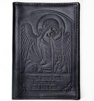 Обложка паспорт, тиснение Ангел Хранитель, крыло пластик (арт.МО41А) черная