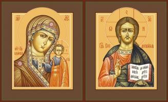 Венчальная пара икон Господь Вседержитель (арт.00112) и Божия Матерь Казанская (арт.00212)