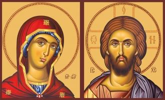 Венчальная пара икон Господь Вседержитель (арт.00114) и Божия Матерь Деисусная(арт.00214)