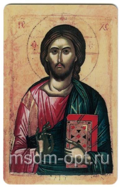 Господь Вседержитель, икона с молитвой, дорожная (арт.01047)