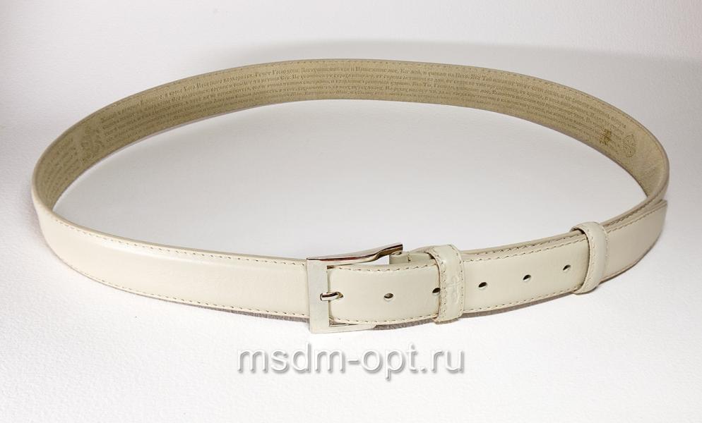 00116 Пояс ремень мужской кожаный, трехслойный, прошитый. 35 мм (арт.МП1) белый