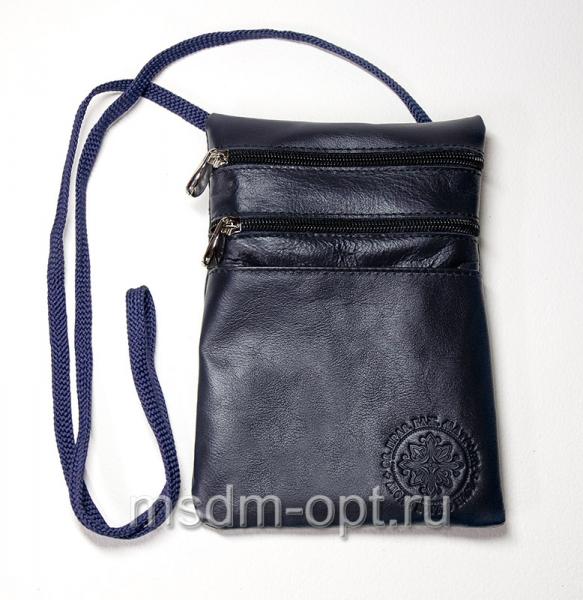 Сумка паломника, кожаная (арт.СП81) синяя