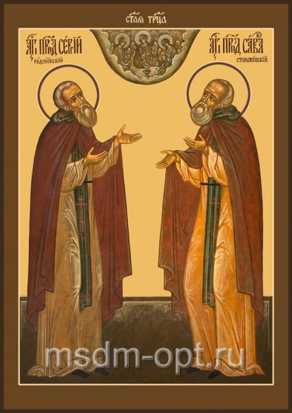 Сергий Радонежский и Савва Сторожевский преподобные, икона (арт.028)