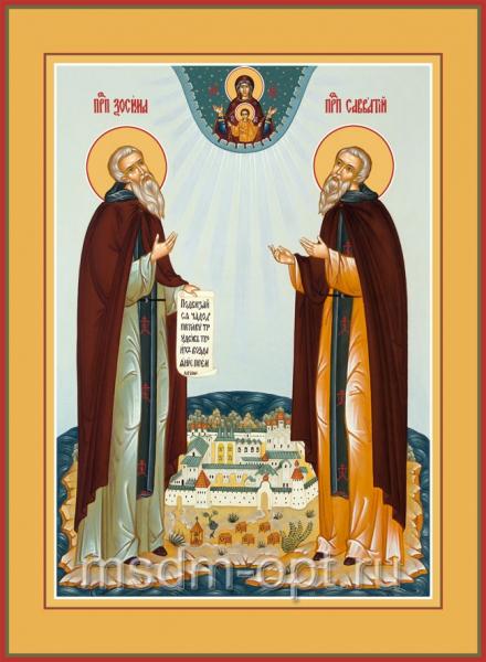 Зосима и Савватий Соловецкие преподобные, икона (арт.063)