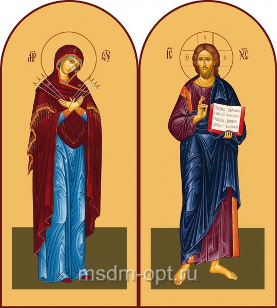 Венчальная пара икон Господь Вседержитель (арт.00115) и Божия Матерь Семистрельная (арт.00215)