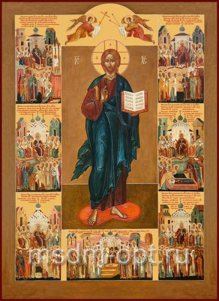 """Господь Вседержитель с клеймами """"Семь Вселенских соборов"""",  икона (арт.116)"""
