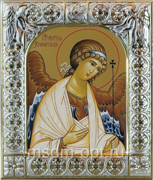 Ангел Хранитель, икона  в посеребренной рамке, золочение, 88 х 104 мм (арт.00157-15)