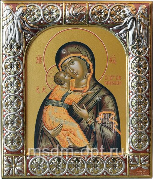 Владимирская икона Божией Матери, икона  в посеребренной рамке, золочение, 88 х 104 мм (арт.0378-15)
