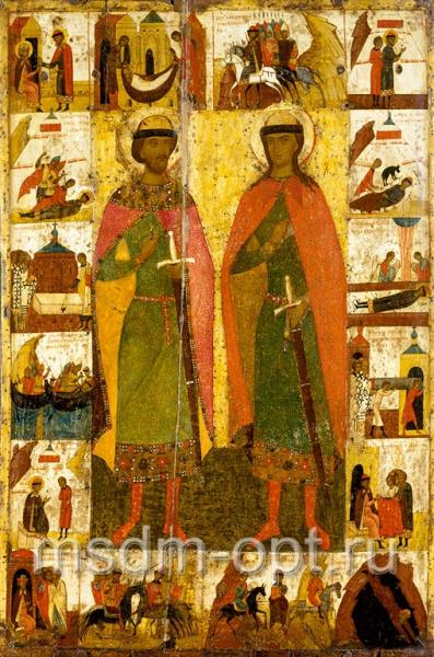 Борис и Глеб благоверные князья-страстотерпцы, икона (код.3402)