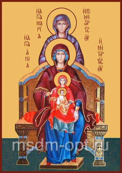 Богородица со сродницами, праведными Анной и Марией, икона (арт.345)