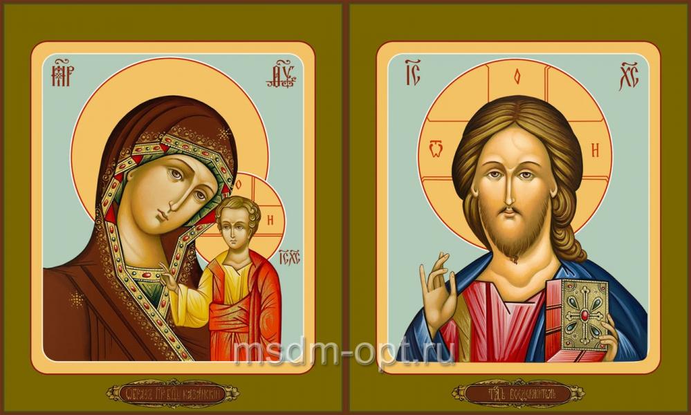 Венчальная пара икон Господь Вседержитель (арт.04105) и Божия Матерь Казанская (арт.04205)