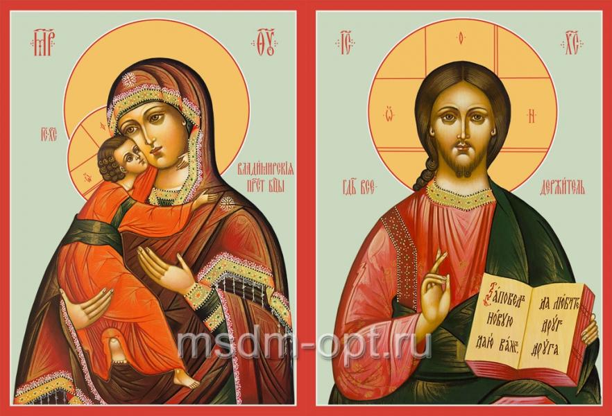 Венчальная пара икон Господь Вседержитель (арт.04108) и Божия Матерь Владимирская (арт.04208)