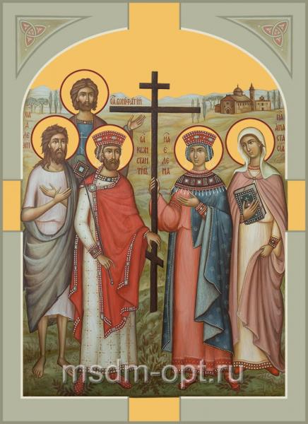 Константин и Елена равноапостольные, Алексий преподобный, Анастасия Римская мученица, Вонифатий мученик, икона (арт.04657)
