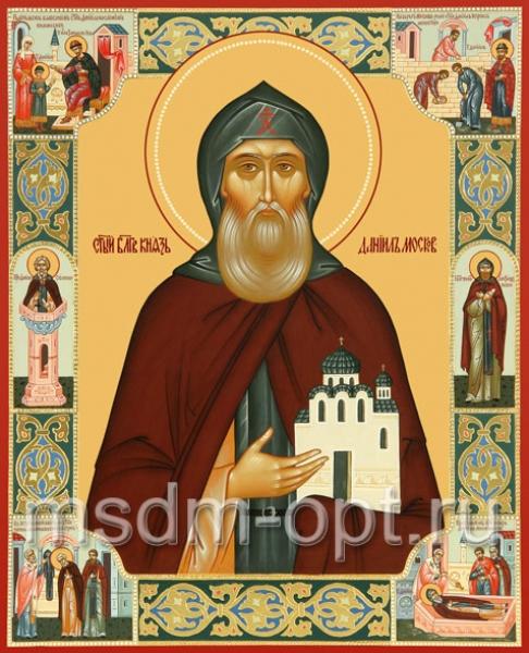 Даниил Московский благоверный князь, икона с житием (арт.475)