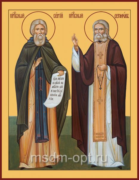 Сергий Радонежский и Серафим Саровский Святые, икона (арт.04821)