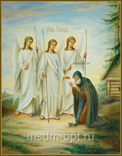 Явление Святой Троицы преподобному Александру Свирскому, икона (арт.04826)