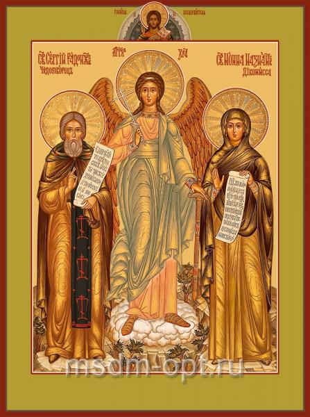 Сергий Радонежский, Святой преподобный и Праведная Нонна Назианзская, диакониса, мать святителя Григория Богослова, икона (арт.04831 2-c)