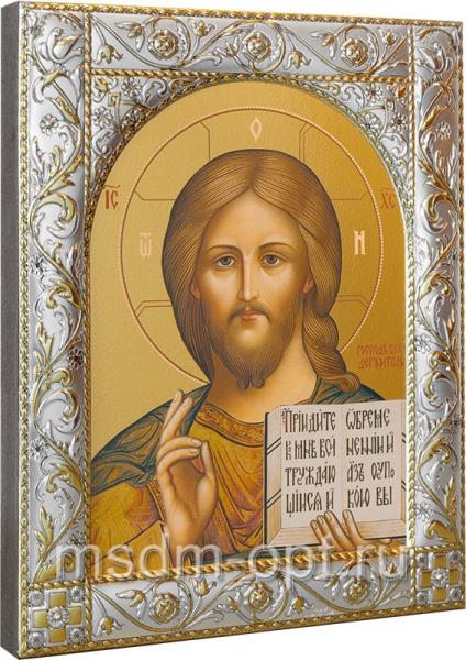 Господь Вседержитель, икона  в посеребренной рамке, золочение,  140 х 180 мм (арт.00110-55)