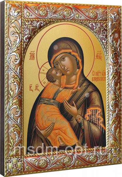 Венчальная пара икон Господь Вседержитель (арт.06105-55) и Божия Матерь Владимирская (арт.0378-55) в посеребренной рамке, золочение, красная эмаль, 140 х 180 мм